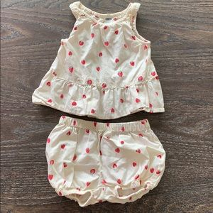 Girls Strawberry shirt and bloomers 6-12 months